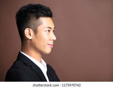 side view Portrait of handsome young man