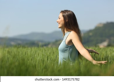 Vue latérale du portrait d'une femme heureuse marchant dans un champ de blé