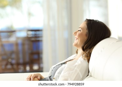 Side view portrait of a happy woman relaxing on vacations sitting on a couch and looking through a window in an apartment