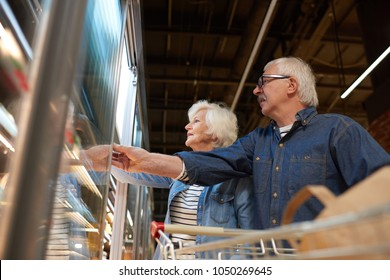 Side view portrait of modern senior couple grocery shopping in supermarket  choosing frozen foods standing by freezers, copy space