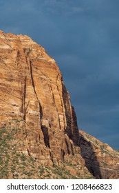 Side view portrait orientation of the Watchman rock formation in Zion National Park Utah