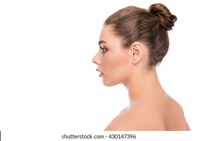 Side view portrait of relaxed calm young woman