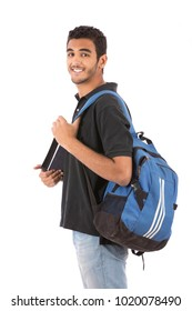 a side view portrait of a smiling student carrying his backpack,  isolated on a white background