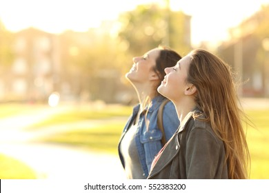 Side view portrait of two happy girls breathing fresh air together in a park at sunset with a warm back light in the background
