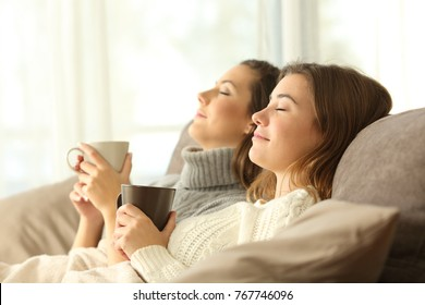 Side view portrait of two roommates relaxing in winter sitting on a sofa in the living room in a house interior