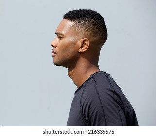 Side view portrait of a young african american man
