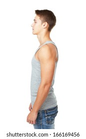side view portrait of young man isolated on white background