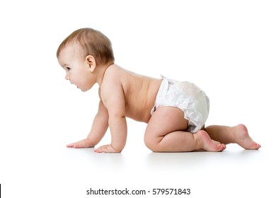 side view of pretty crawling baby isolated