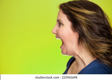 Side view profile portrait beautiful angry woman screaming wide open mouth isolated on green background. Negative human emotions, face expression, feelings, anger management problems