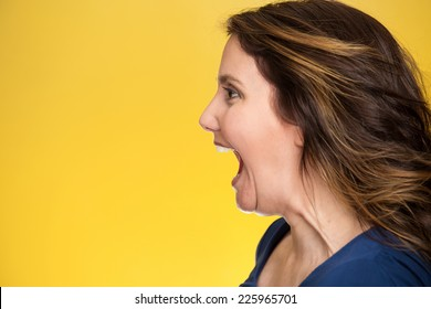 Side view profile portrait beautiful angry woman screaming wide open mouth isolated on yellow background. Negative human emotions, face expression, feelings, anger management problems