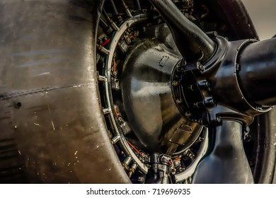 The side view of the propeller of a World War Two era bomber.