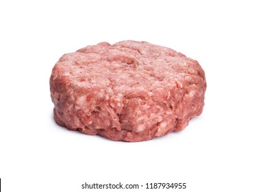 A side view of a raw beef burger isolated on a white background.