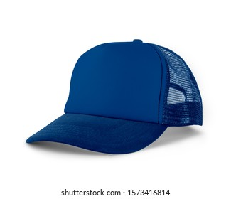 Side View Realistic Cap Mock Up In Princess Blue Color is a high resolution hat mockup to help you present your designs or brand logo beautifully.