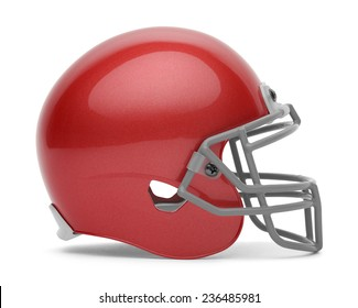 Side View of Red Football Helmet with Copy Space Isolated on White Background.