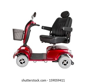 Side view of a red, four wheel electric scooter with shopping basket and adjustable seat.
