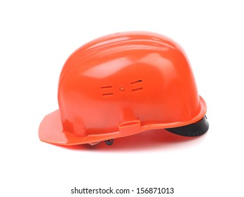 Side view of red hard hat. Isolated on a white background.