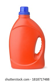 Side view of red plastic bottle with handle isolated on whit
