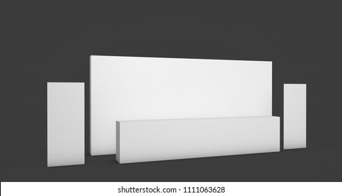 Side view of a registration stand with two rollup banners. Mockup for evens, exhibitions and presentations.
