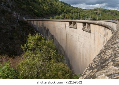 Side view of a river dam