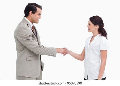 Side view of salespeople shaking hands against a white background