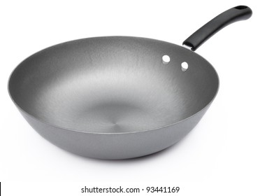 side view of a saucepan on white