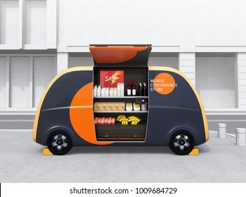 Side view of self-driving vending car parking on the street. The car is equipped with shelf for grocery. Mobile convenience store concept. 3D rendering image.