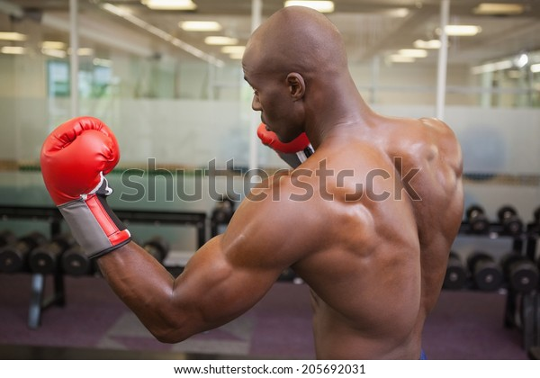 Side View Shirtless Muscular Boxer Defensive Stock Photo