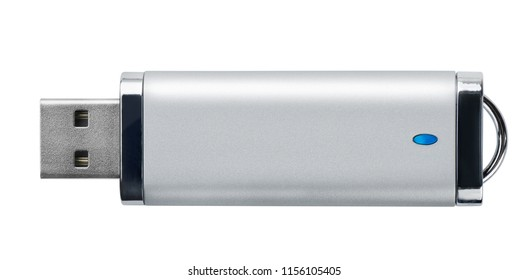 Side view of silver USB memory stick isolated on white