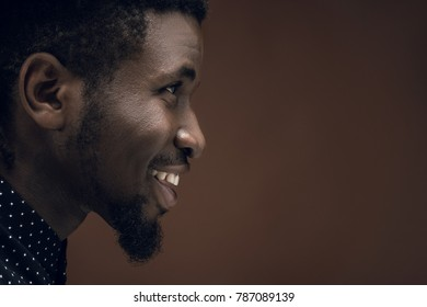 side view of smiling african american man isolated on brown