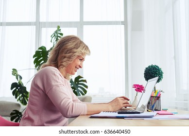 Side view of smiling madam working on laptop in bright room