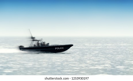 side view of special forces speed boat with painted city police sign and silhouette of policeman people team in black wear on board running waves across sea crime lifestyle chasing panorama background