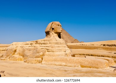 Side view of the Sphinx, most famous landmark of Egypt