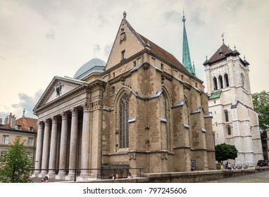 Side View of the St. Pierre Cathedral in Geneva, Switzerland, on a cloudy summer day