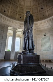 side view of statue of Thomas Jefferson in the Jefferson Memorial in Washington DC, USA on 13 May 2019