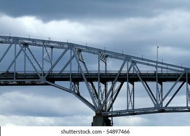 Side view of a steel bridge crossing.
