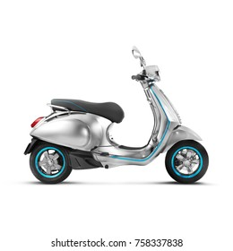 Side View of Steel Motor Classic Scooter Isolated on White Background. Metallic Electric Motorcycle with Step Through Frame and a Platform. Modern Personal Transport.