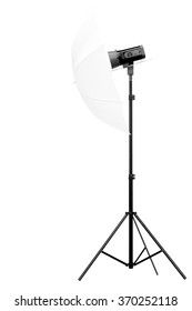 side view studio flash with umbrella isolated on white background with clipping path