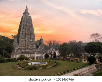The side view of the stupa at Mahabodhi Temple Complex in Bodh Gaya, India. The Mahabodhi Vihar is a UNESCO World Heritage Site.