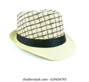 side view summer vintage straw hat or fedora hat for man isolated on white background with clipping path