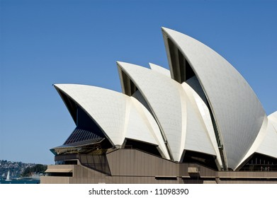 side view of sydney opera house taken from harbor