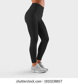 Side view template of fitness leggings for a sports girl with a bent leg, for presentation of design and advertising in an online store. Mockup Workout Pants, Skinny Women's Clothing