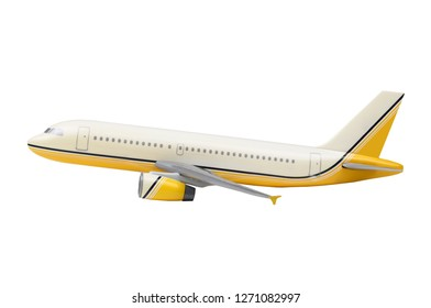 Side view of a Toy Airplane isolated on a white background.