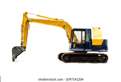 Side view of Tracked old excavator or backhoe at parking and open door. isolated on white background.