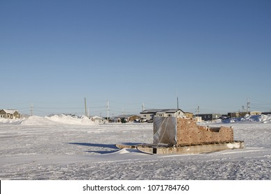 Side view of a traditional Inuit cargo sled or Komatik in the Arviat style in the Kivalliq region, Nunavut Canada