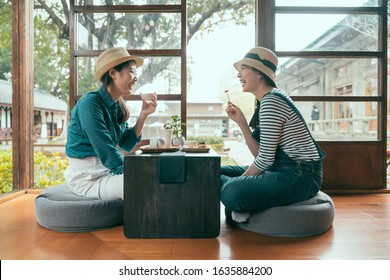 side view of two asian girls having fun laughing during afternoon tea time in local tea shop. Japanese style house Tokyo Japan. group of cheerful female friends enjoy local snack eating indoor