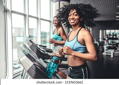 Side view of two beautiful black girls on treadmill in gym. Two smiling women looking camera. Weightloss on running track