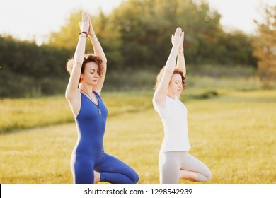 Side view of a two beautiful young slim girls yoga lovers will make vrikshasana on a green lawn in the park. Concept of strengthening leg muscles and improving concentration