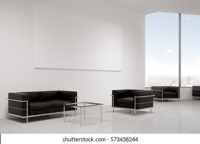 Side view of two black armchairs standing by the sides of a square coffee table. There is a large horizontal poster on the wall behind them. 3d rendering. Mock up.