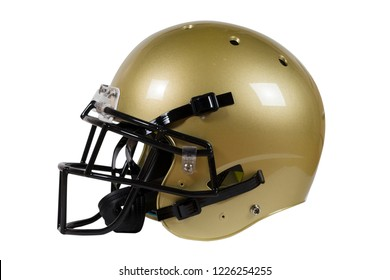 Side view of Vegas Gold American football helmet isolated on white with clipping path