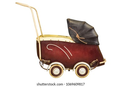 Side view of a vintage baby pram isolated on a white background